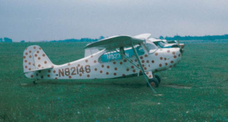 Aeronca-7AC-Skyport-Trainer painted with polka dots