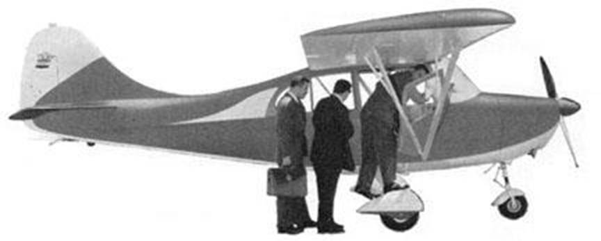 Three men in suits boarding a 7HC-DXer. BW photo.